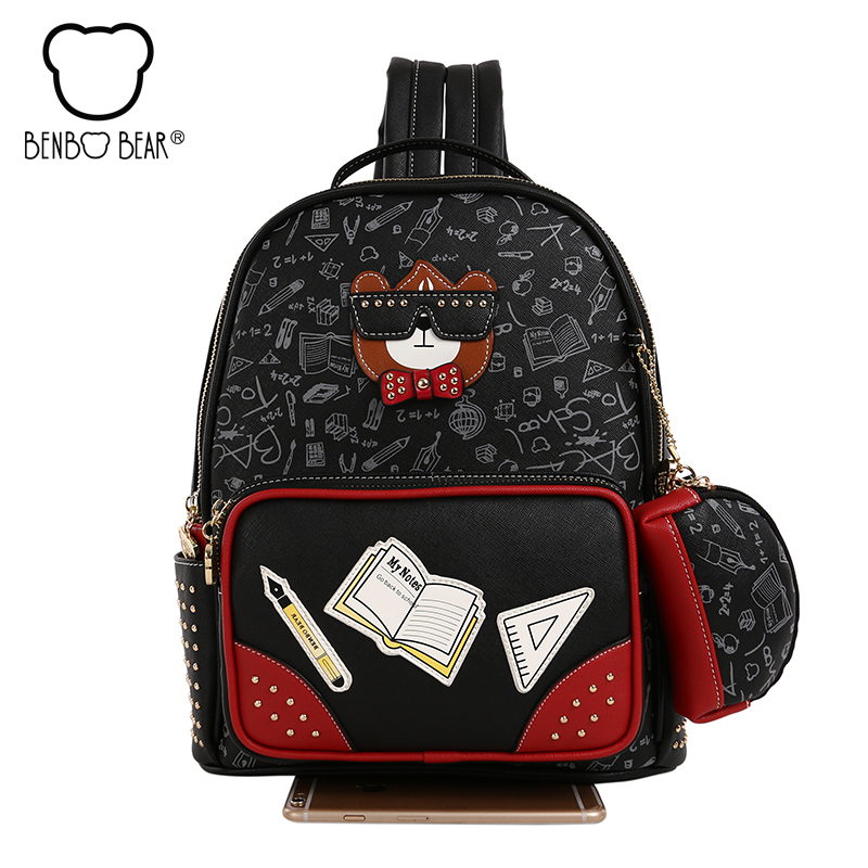 Benbo bear New College Wind Women Backpack High Quality School Bags for Teenage Girl Female