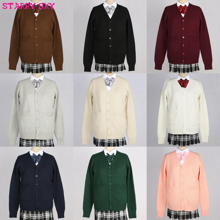 Japanese V-neck Long Sleeve Cardigan Thickned Autumn Winter Students Uniform Jk Cos Girls Women High School Sweaters 10 Colors