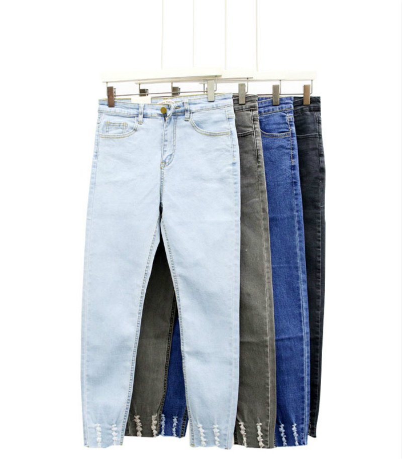 New Slim Stretch High Waist Skinny Jeans Female Scratch Worn Feet Vintage Black Blue Pencil Pants Women Jeans Plus Size S-XL 2017 jeans for women new thin slim trousers pencil pants high waist small jeans plus size xl 5xl fashion vintage blue jeans