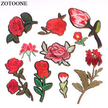 ZOTOON Epeony Rose Embroidered Iron on Patches for Clothing DIY Lily High Grade Accessories for Dress Custom Flowers Applique E