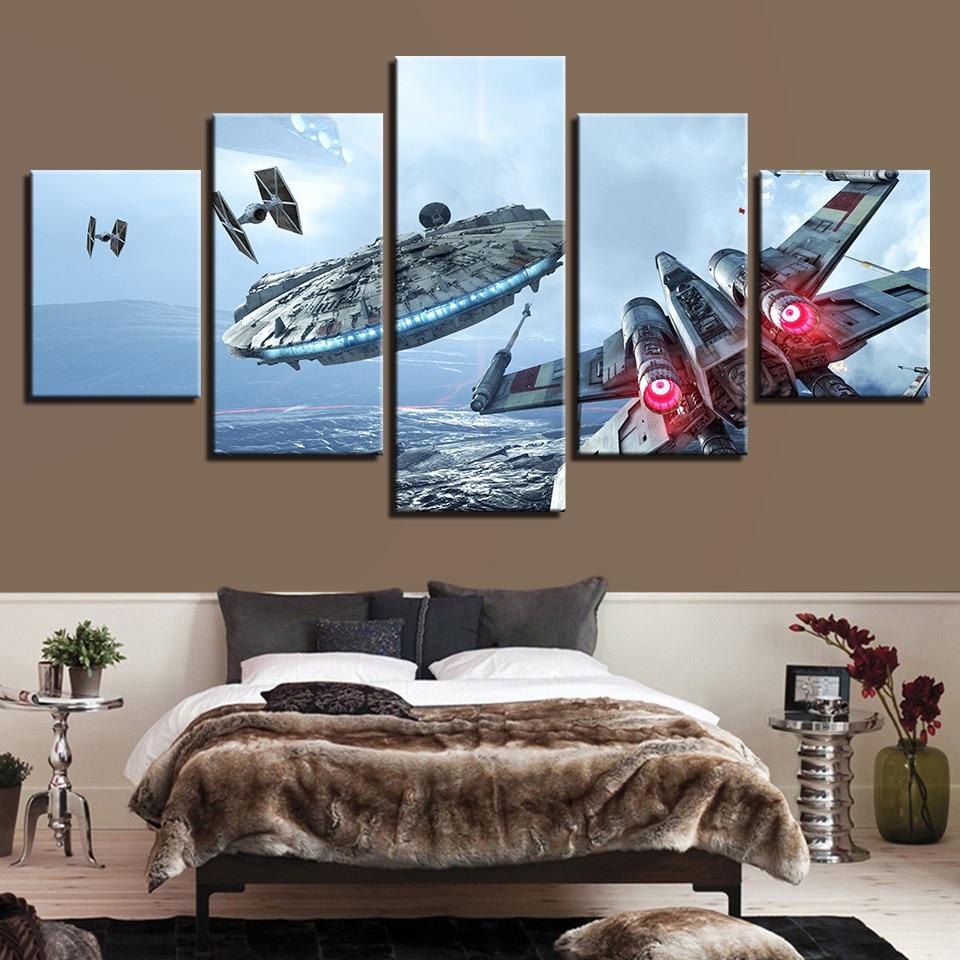 Leinwand HD Drucke Bilder Home Decor Movie Gemälde 5 Stücke Star Wars  Millennium Falcon Poster Wohnzimmer Wandkunst Rahmen