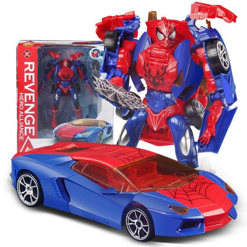Transformation Toys Robot to Car Spiderman Transform Toys Children DIY Education Toys Gift