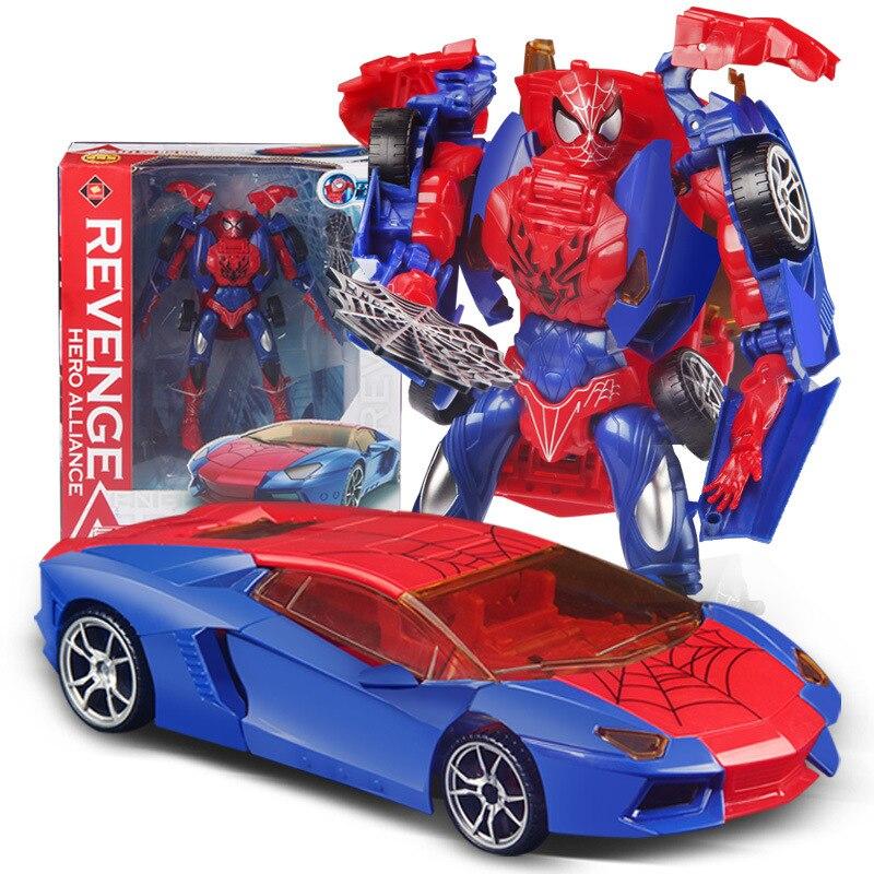 Transformation jouets Robot à voiture Spiderman transformer jouets enfants bricolage éducation jouets cadeau