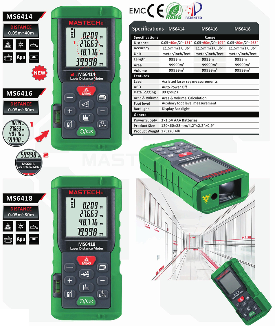MASTECH MS6418 Digital Laser Distance Meter Rangefinder 80m 60m 40M Range Finder Tape Measure MS6416 MS6414 mastech ms6418 laser distance meter 80m distance measure digital range finder with bubble level