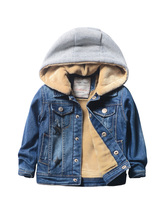 Anlencool Boys plus velvet denim jacket 2018 winter new children's clothing baby children thick winter clothes children's jacket