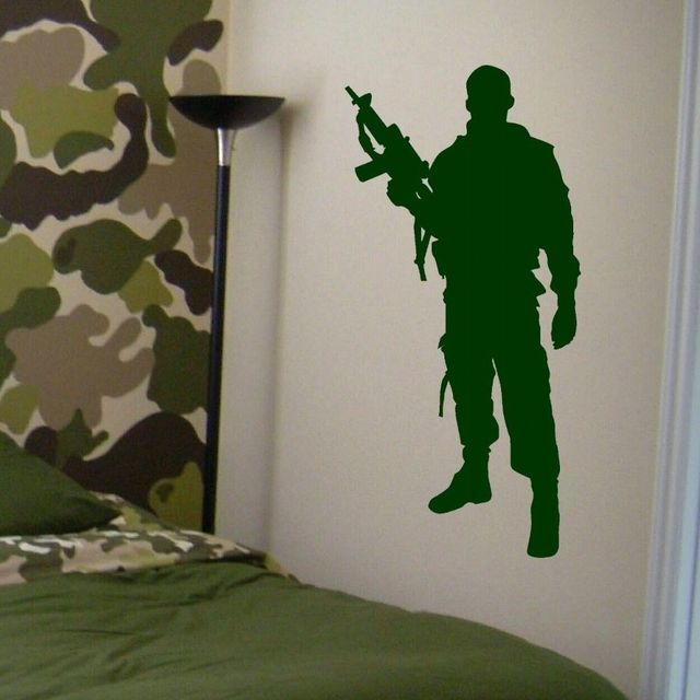 Military Army Soldier Wall Decal Home Boys Bedroom Decor Art Mural Vinyl  Sticker Removable House Interior
