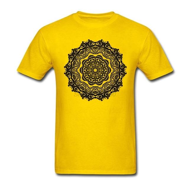 Flor de algodão Camiseta Budismo Mandala Hinduísmo Homens Da Camisa do Grande OverSize Equipe T-shirt de Manga Curta Projeto Livre