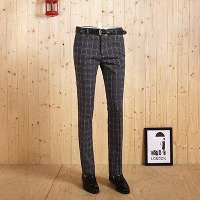 Новое поступление, высококачественные мужские весенне-осенние легкие джентльмен, серые клетчатые повседневные Костюмы, длинные штаны, тонкие деловые мужские штаны - Цвет: deep grey