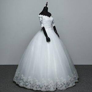 Image 3 - Hochzeit Kleid 2020 Neue Ankunft Blumen Schmetterling Gelinlik Stickerei Spitze Boot ausschnitt Prinzessin Hochzeit Kleider Vestidos De Novia
