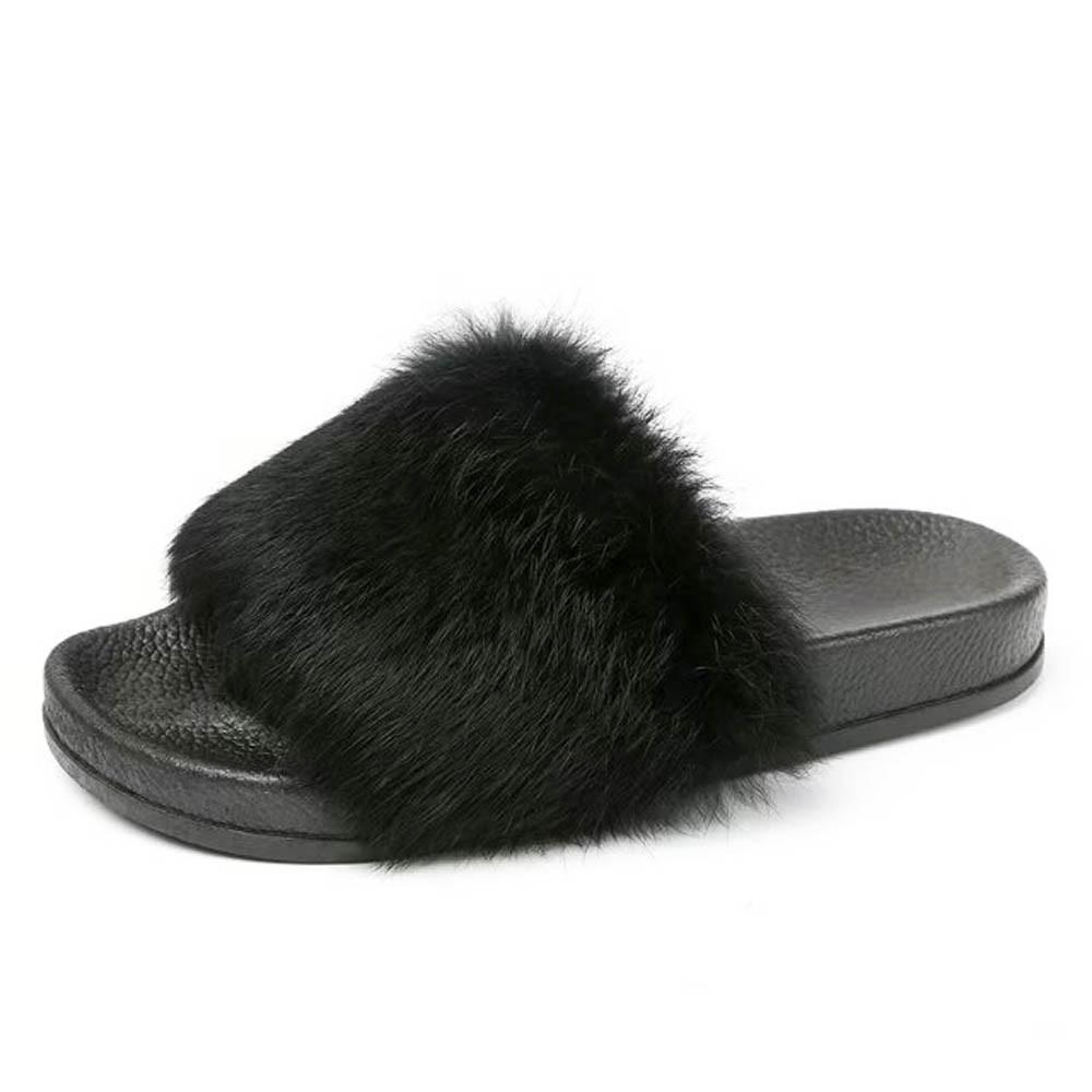 Women's Shoes Flat Non-slip Soft Fluffy Faux Fur Flat Slipper unicornio zapatos mujer slippers for women sapato feminino A8 coolsa women s fashion furry slippers non slip plush fluffy slippers women s faux hair leopard slippers zapatillas feminino hot