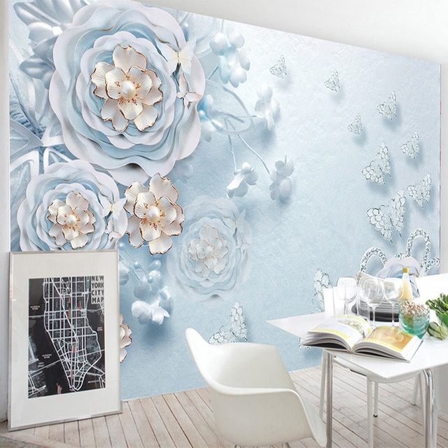 Photo Wallpaper Modern Blue Flowers Romantic Backdrop Wall Mural Living Room Wedding House Bedroom Home Decor