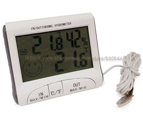 Large LCD Screen Indoor Outdoor Digital Thermometer Hygrometer Temperature Humidity Meter Tester & 5PCS/Lot Free Shipping