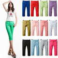 New  Women Ladies Slim Fit Skinny Stretch Short 3/4 Pencil Pants Jeans Trousers Free Shipping
