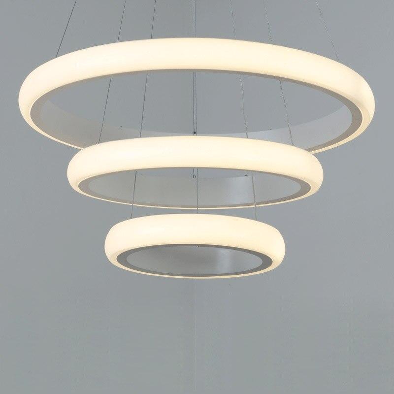 Modern Led Hanging Rope Lamp Ring Pendant Light Kitchen