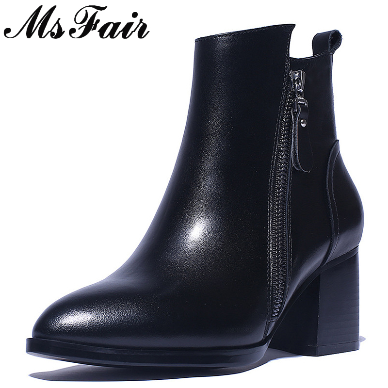 все цены на MsFair Pointed Toe High Heel Women Boots Genuine Leather Zipper Ankle Boots Women Shoes Winter Elegant Ankle Boots Shoes Woman онлайн