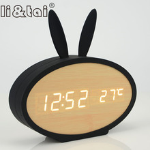 New Creative LED Wooden Alarm Clocks Calendar Clocks Perfection Voice Control Cute Rabbit Silicone Electronic Wooden Watches все цены