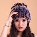 Bolsas de pele de coelho chapéu feminino super quente de lã grossa malha cabeça raposa Rex chapéu de lã chapéu feminino