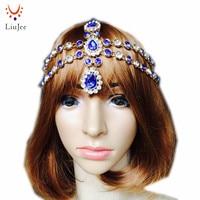 LiuJee Baby Blue testa pezzo da sposa prom grecian goddess boho matha patti argento oro Colo monili dei capelli della festa nuziale nuziale