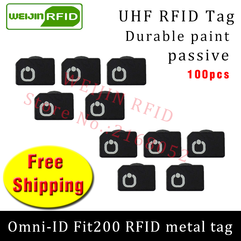 UHF RFID metal tag omni-ID Fit200 915m 868mhz Alien Higgs3 EPC 100pcs free shipping durable paint smart card passive RFID tags 2016 trays management anti metal epc gen2 alien h3 uhf rfid tag 50pcs lot