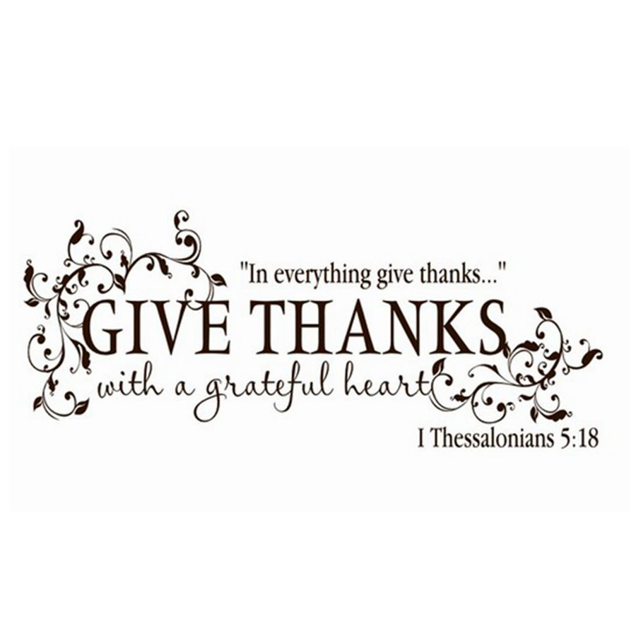 Give Thanks With A Grateful Heart Thanksgiving Vinyl Wall Art Sticker Bible Verse Decals For Home Living Room Decoration In Stickers From
