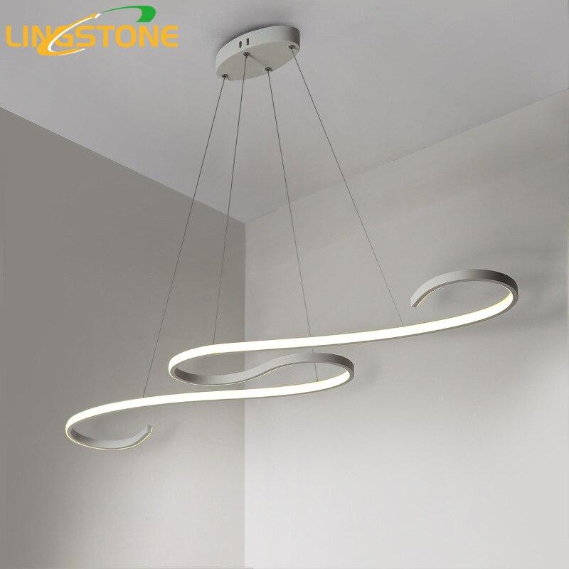 Lustre люстра светодио дный лампа современный потолочный алюминий дистанционное управление светильник волна форма висит гостиная кухня