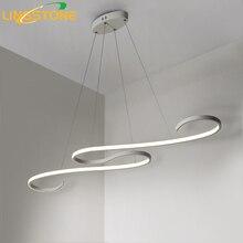 Lustre Chandelier Lighting Led Lamp Modern Ceiling Aluminum Remote Control Light Fixture Wave Shape Hanging Living Room Kitchen