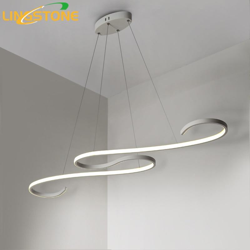 Lustre Lustre Éclairage Led Lampe De Plafond Moderne En Aluminium Télécommande Luminaire Vague Forme Suspendue Salon Cuisine