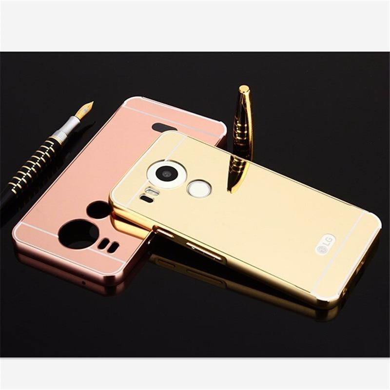 new styles 8763f 52519 For LG Nexus 5X Case Luxury Rose Gold Mirror Metal Aluminum Back Cover Case  For Google Nexus 5x Nexus5X H798 H791
