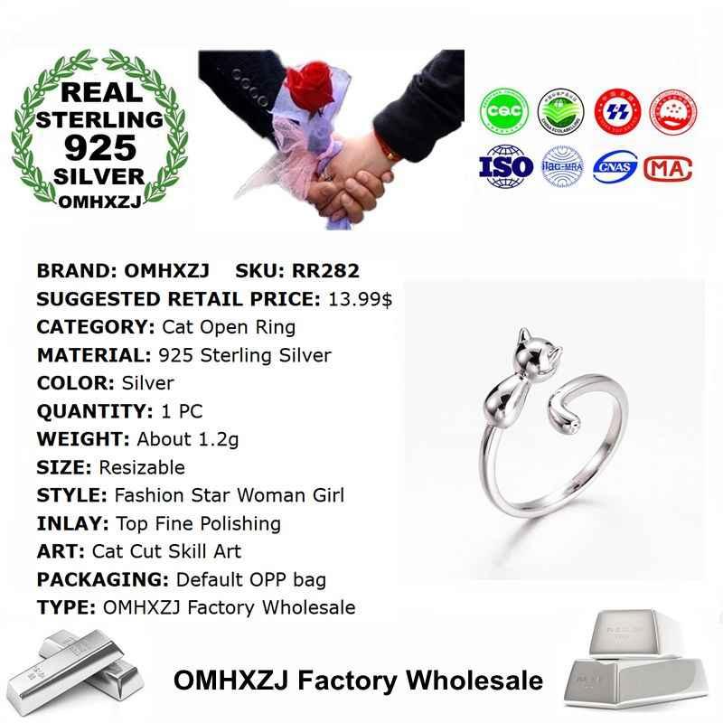 OMHXZJ ขายส่งยุโรปแฟชั่นผู้หญิงสาวงานแต่งงานของขวัญแมวน่ารักเงินเปิดแหวนเงิน 925 RR282