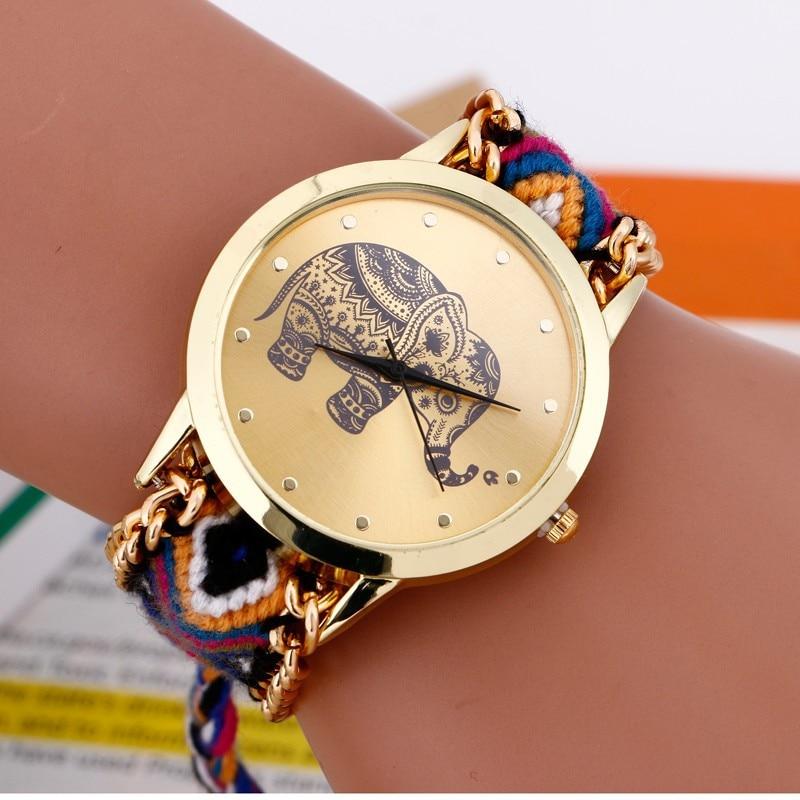 2017 Bayan Saatleri Moda Pulseira Relógio Das Mulheres Trançado Elefante Rodada Dial Relógio de Quartzo Relógio Feminino relógio de pulso Relojes Mujer