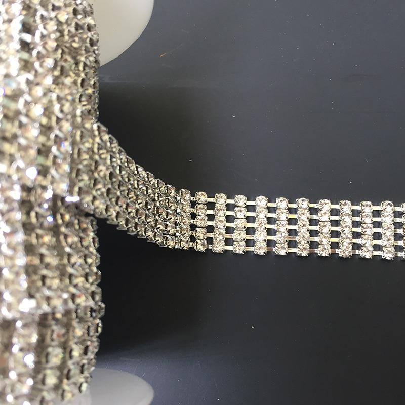 5Yards Rose Gold Silver Gold Rhinestone Trim 17mm Crystals Ribbon DIY Crafts Chain For Wedding Dress