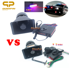 Super Loud Car Horn 12V Alarm Siren Police Waring Sound Speaker 200W MIC PA System Flashlight Megaphone 9 Mulit Tone
