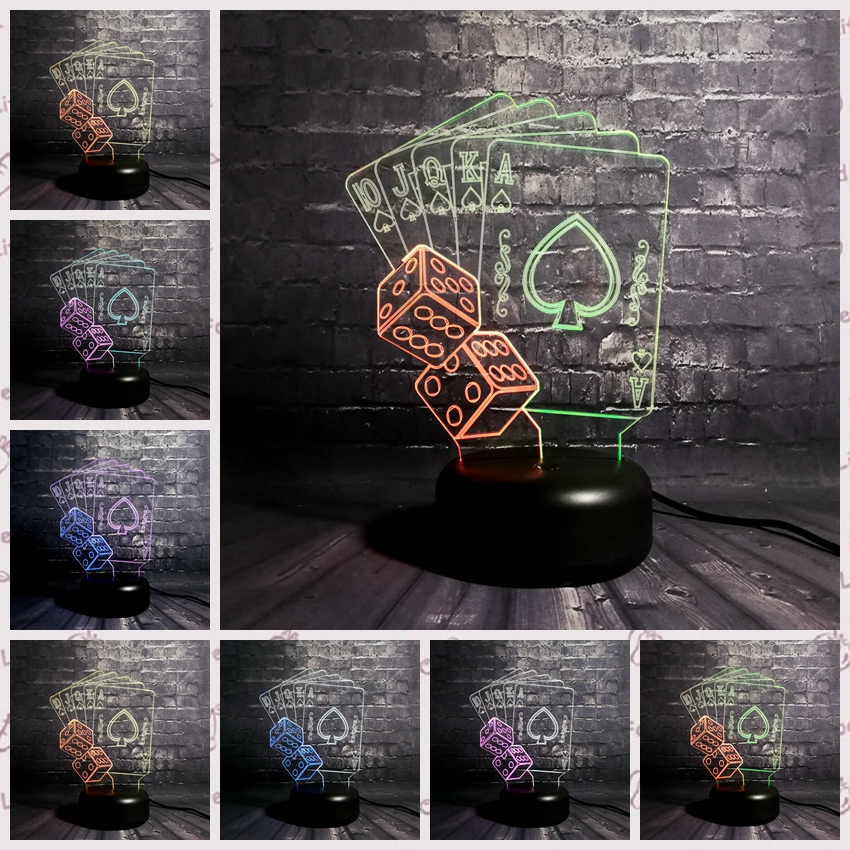 Creative Mixed Color Night Light 3D LED USB Lamp Magician Table Decorative TEXAS HOLD EM Dice Poker Spades Playing Card Kid Toy