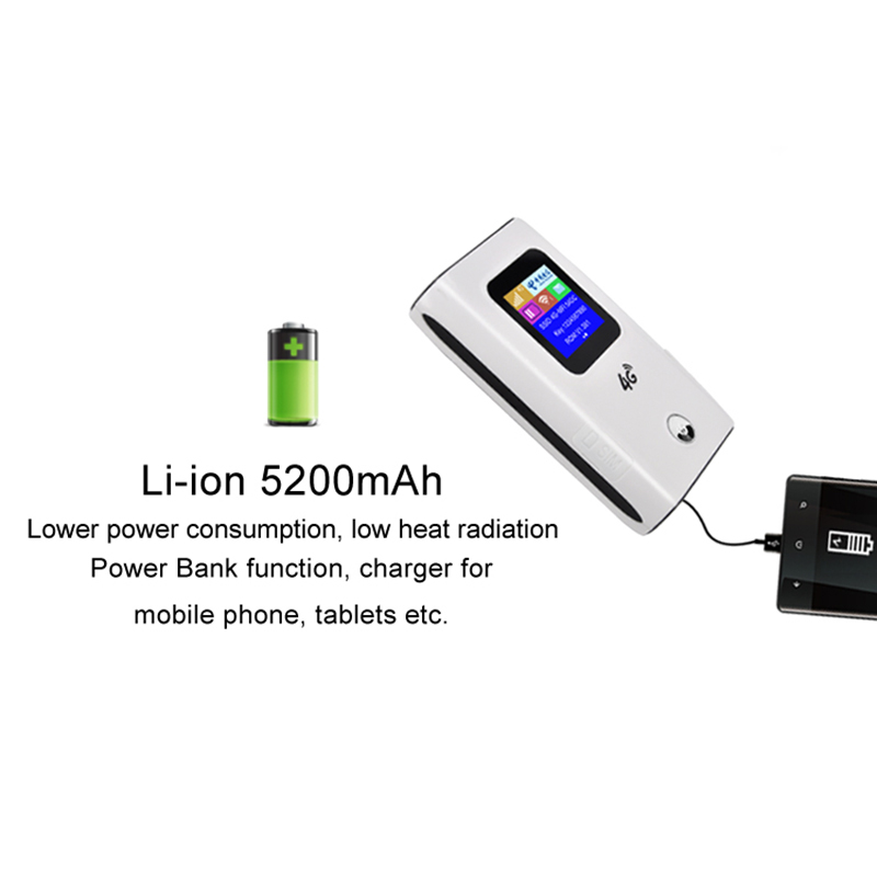TIANJIE 4G Wifi Router Unlocked 3G/4G LTE Travel Router 5200mAh Power Bank Mifi FDD-LTE Unlock Dongle FDD-LTE Car WiFi