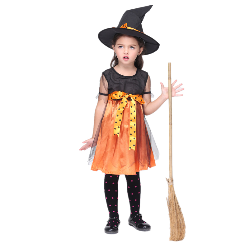 cute kids witch costumes for girls 90 130 cm height halloween costume for kids halloween costumes for girls