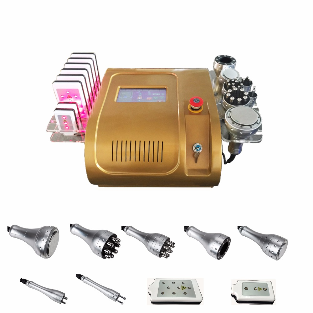 Vacuum RF Skin Care Salon Spa Equipment 40k Ultrasonic liposuction Cavitation 8 Pads