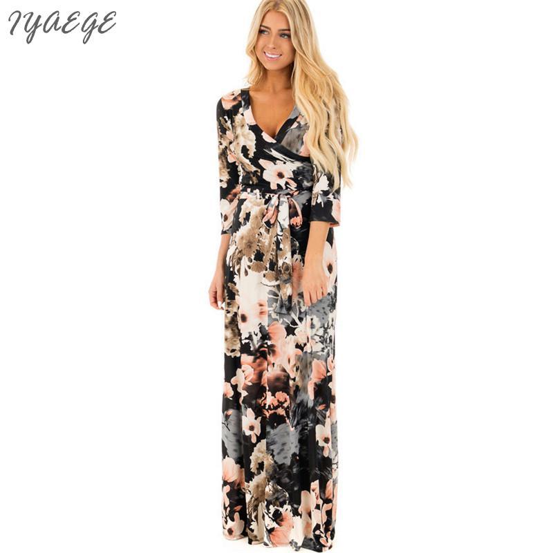 Casual Woman Floral Wrap Dress Women Cotton Formal Maxi Floral Long