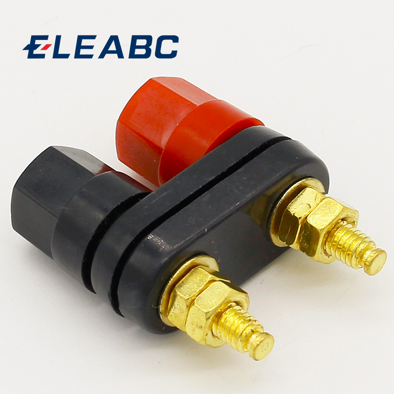 Qualidade banana plugues casal terminais vermelho preto conector amplificador terminal ligação pós banana falante plug jack