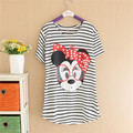 Women Striped mouse T Shirts Short Sleeve Cartoon Tee Anchor Printed Tops Cotton Owl T-Shirts lady tops