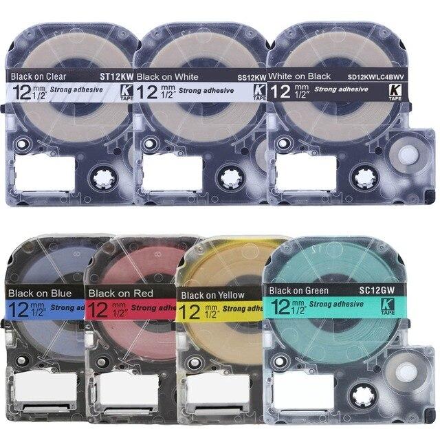 ססגוניות SS12KW LC-4WBN9 תואם Epson/KingJim תווית קלטת SS9KW SS18KW SC12YW SC12RW SC12BW עבור LW-300 LW-400 LW-600P