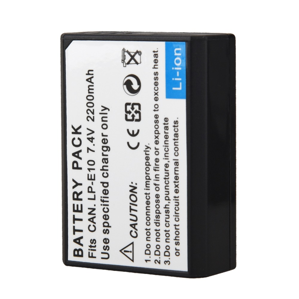 1Pcs 2200mAh LP-E10 LP E10 LPE10 Battery For Canon EOS Rebel T3 T5 T6 1100D 1200D 1300D Kiss X50 X70 LP-E10 Battery