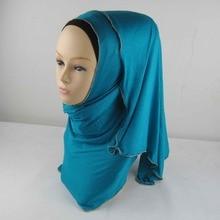 Мусульманский хиджаб из Джерси на молнии Шаль Обертывание с цепочкой границы исламский шарф один шт