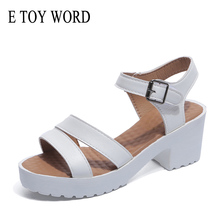 E TOY WORD Platform Summer Shoes Fashion Ankle Strap Buckle Womens Sandals High-heel Open Toe Thick Heel Size 40-43 Ladies shoes women luxury open toe one strap champagne gold chunky heel sandals ankle strap buckle thick high heel sandals dress shoes