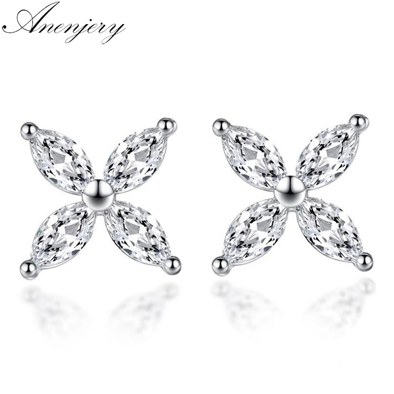 Anenjery 925 Sterling Silver Lucky Leaves Ice Snowflakes Stud Earrings For Women Silver 925 Jewelry Oorbellen Brincos S-E538