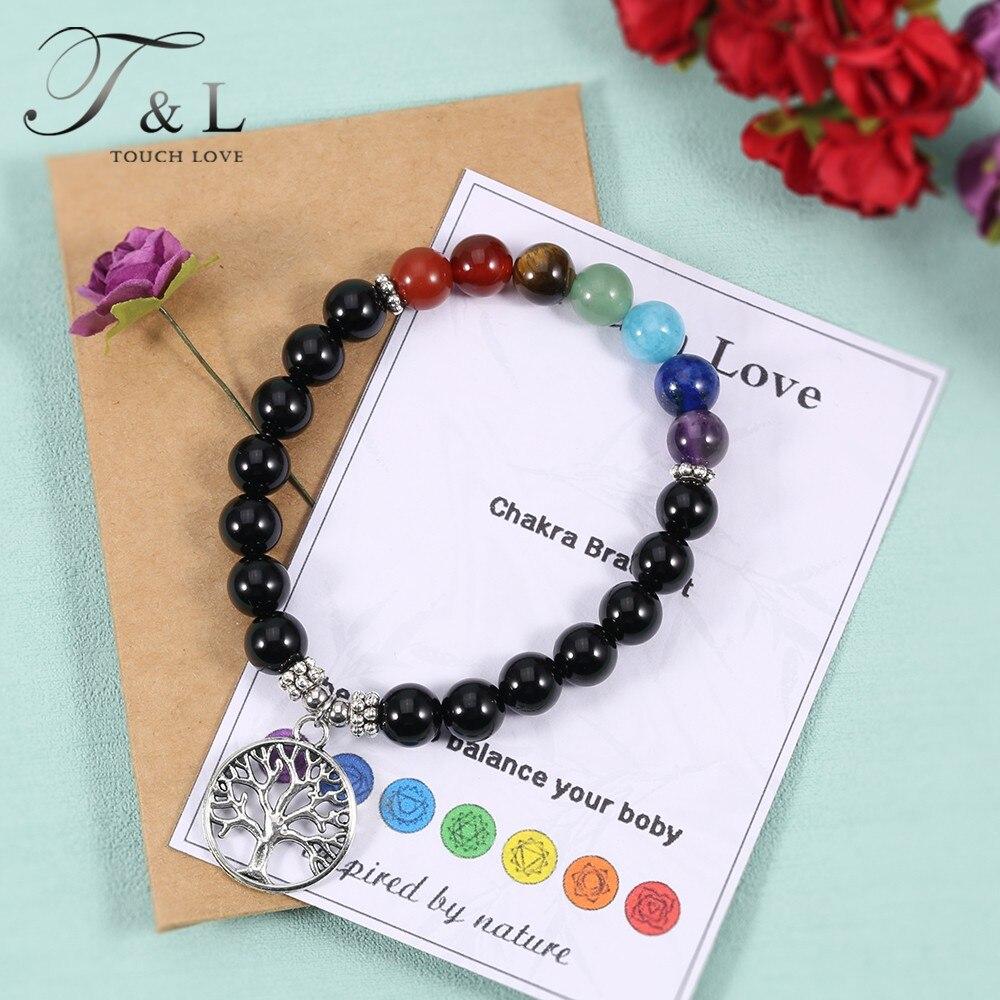 Handmade Jewelry Nature Agate Yoga Bracelet Healing Crystal Life Tree Charm Bracelet 7Chakra Bracelets for Women Christmass Gift