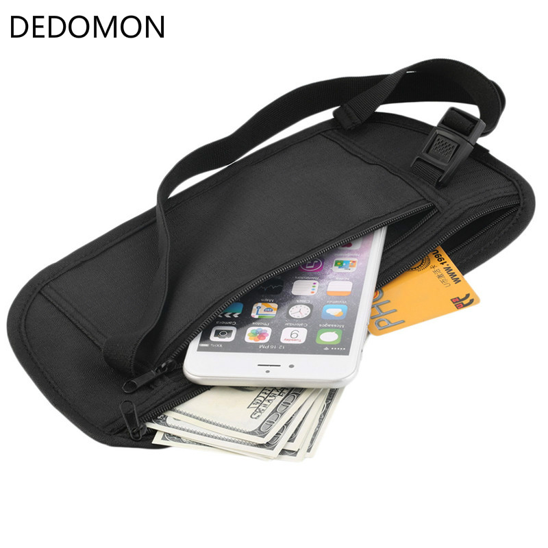 Cloth Travel Pouch Hidden Wallet Passport Money Waist Belt Bag Slim Secret Security Useful Travel Bag Black Fanny Pack D160