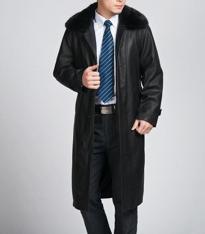 무료 배송 !!! 핫 남성 슬림 가죽 코트 긴 섹션 가죽 - 남성 의류