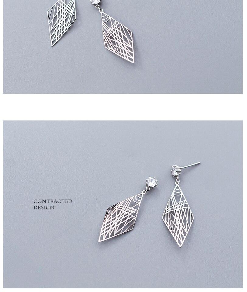 Popular Women 925 Silver Drop Dangle Earrings Jewelry For Girl Lady Party Engagement Gift Sterling Silver Geometric Earrings (5)