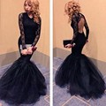 Gorgeous Black Lace Mermaid Prom Dress 2016 Sexy Open Back Formal Dress Gowns With Long SleevesParty Dresses Vestido De Festa