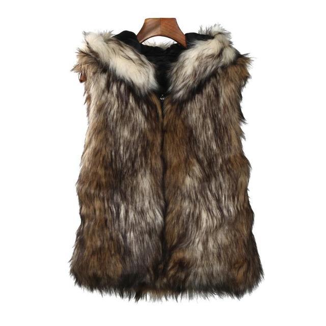 11134d9c9b193 Newest Arrive Vintage Faux Fur Vest Jacket Sleeveless Winter Body Warm Coat  Slim Hooded Waistcoat Gilet TW fashion 2018